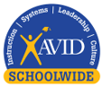 logo for avid blue and yellow